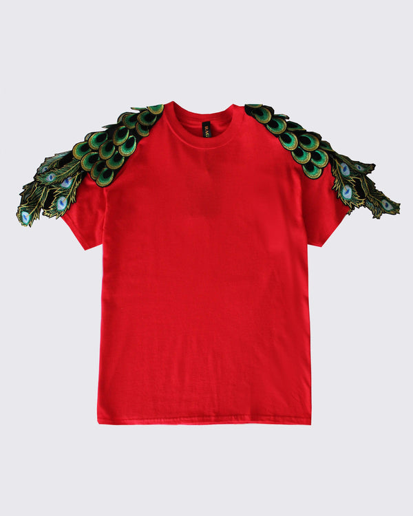 Peacock Sleeve T-Shirt Red