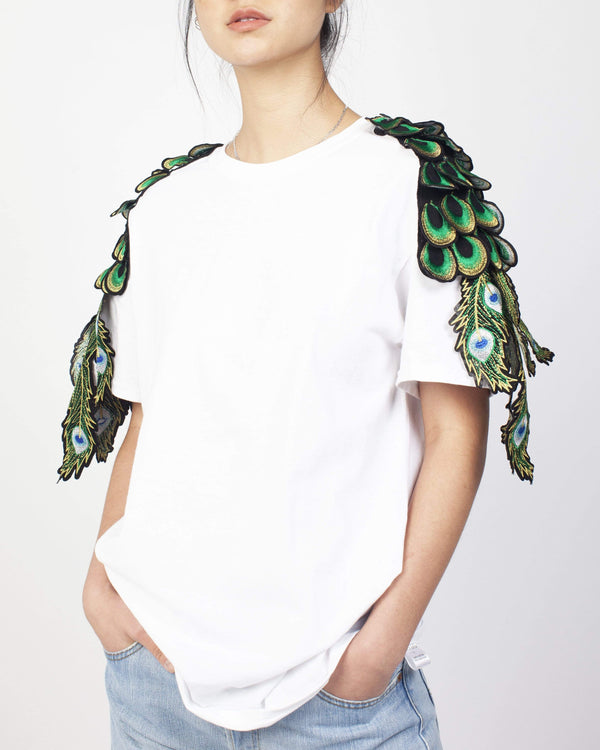 Peacock Sleeve T-Shirt White - Ragyard Vintage Clothing