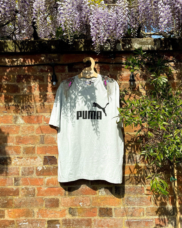 Vintage Puma Sports Tee with Hand Embellished Shoulder Patches