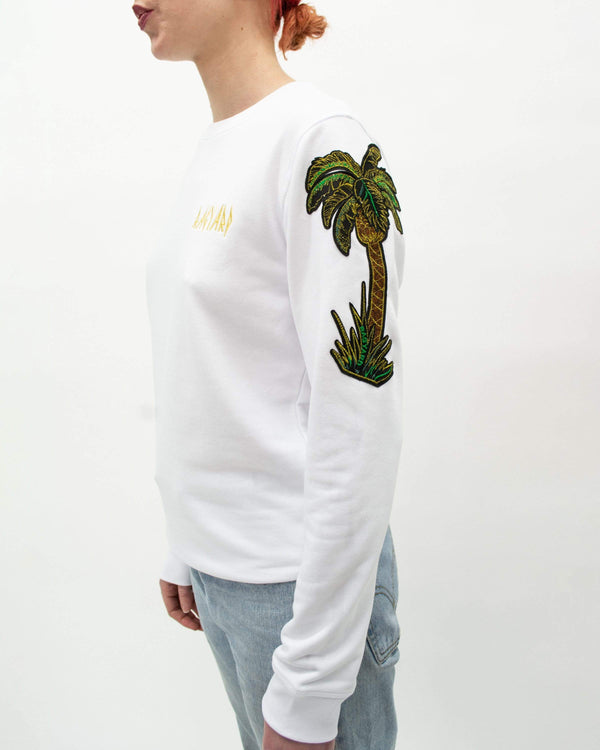 Palm Tree Sweatshirt White