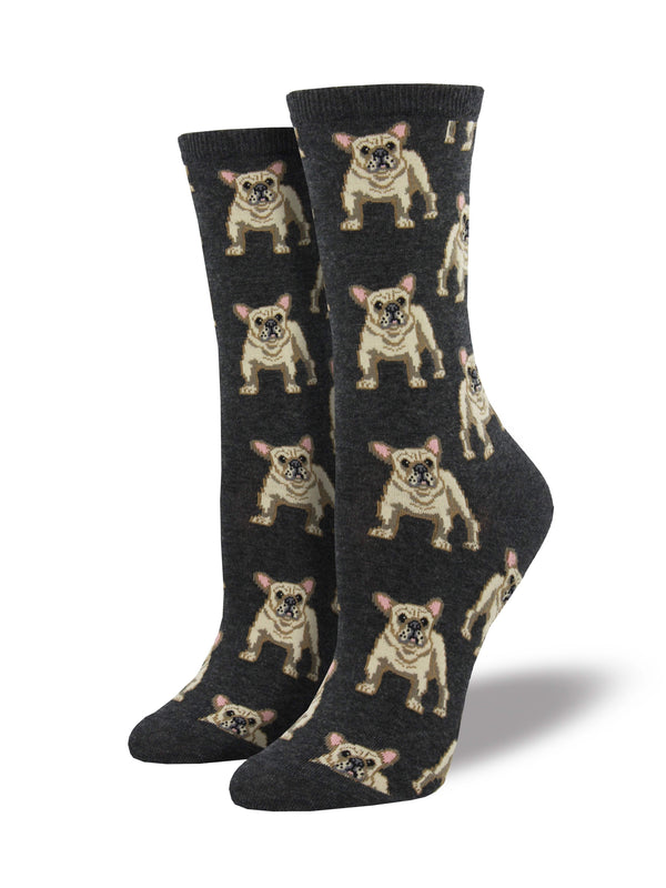 Women's Frenchie Socks - Charcoal