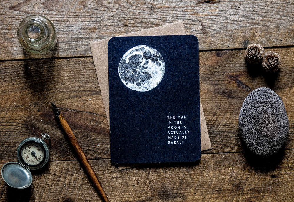 Man in the moon greetings card launch
