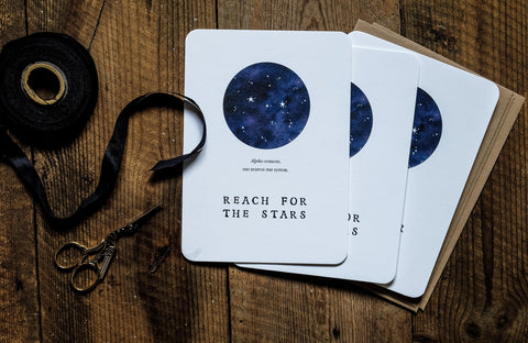 We Are Stardust cards and ribbons