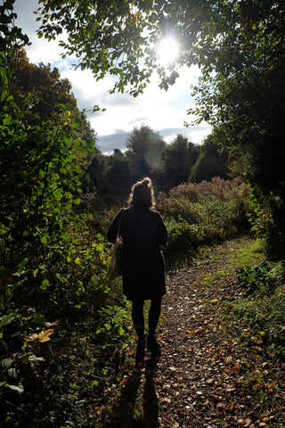 Agnes Becker walking in Watercress Wildlife Garden, St Albans