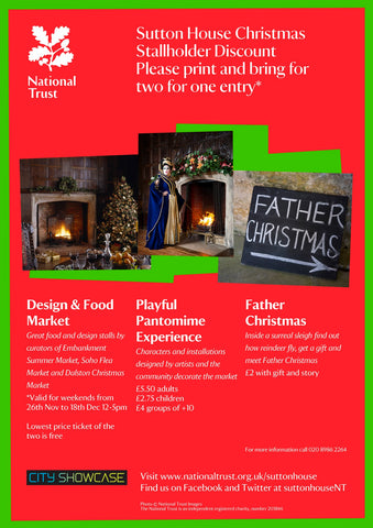 Two for one discount flyer Sutton House Christmas Market