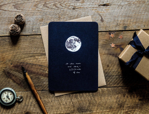 To the Moon and Back = 477170 miles of love greetings card