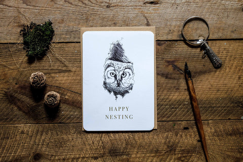 Boreal Owl Happy Nesting Card