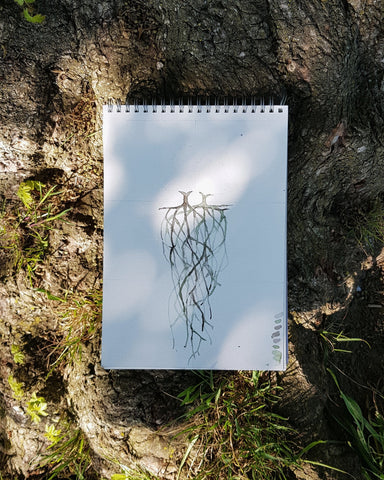 Tree root watercolour painting
