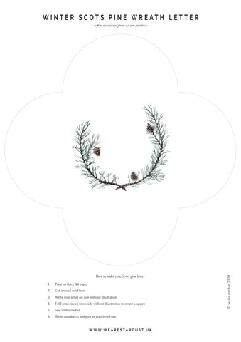 Scots pine wreath letter template