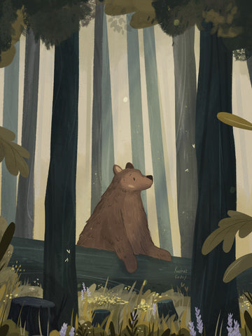 Bear in forest by Raahat Kaduji