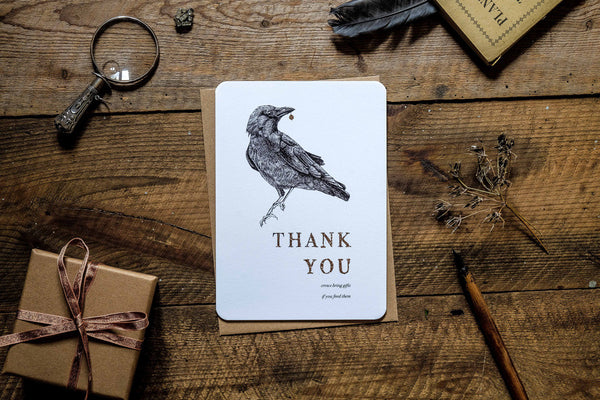 Crows give gifts thank you greetings card