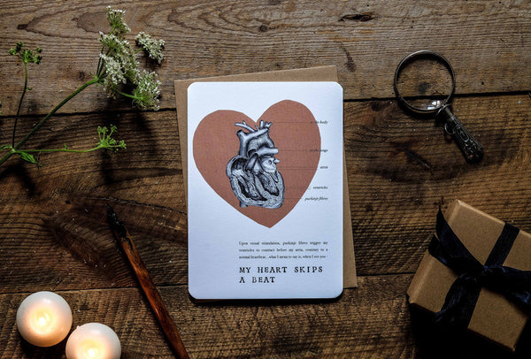 Romantic anatomical heart greetings card