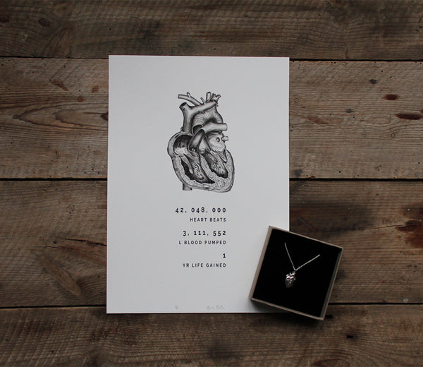 anatomical heart print on rustic wooden table with sterling silver anatomical heart pendant lying on bottom right in a box lined with black velvet