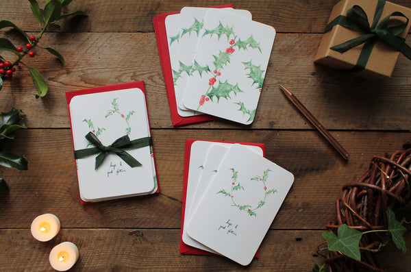 Holly Christmas card pack of 6