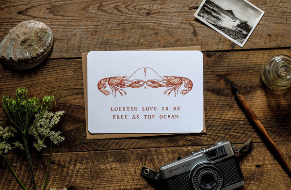 Lobster love greetings card