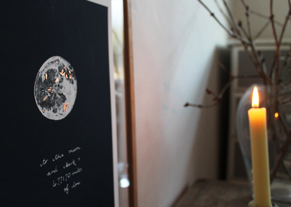 I love you to the Moon and Back limited edition copper gilded print