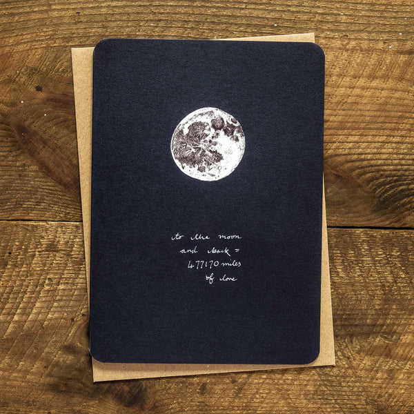 I love you to the moon and back greetings card
