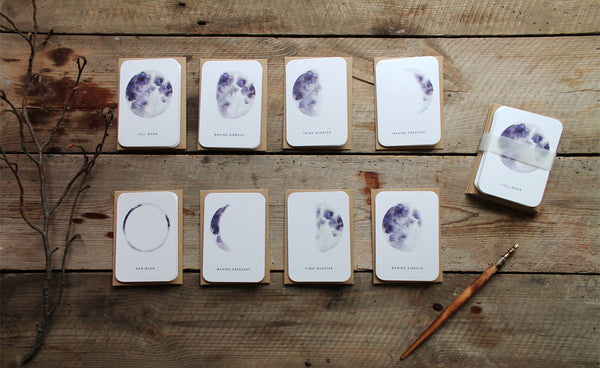 'Life is full of phases' Moon notelet set of 8