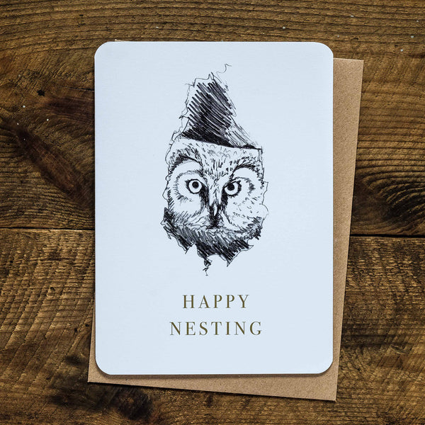 Boreal owl happy nesting new home greetings card