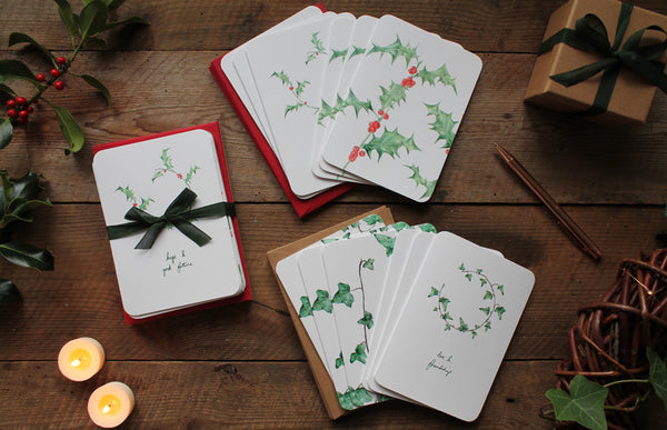 Holly and Ivy Christmas card pack of 12