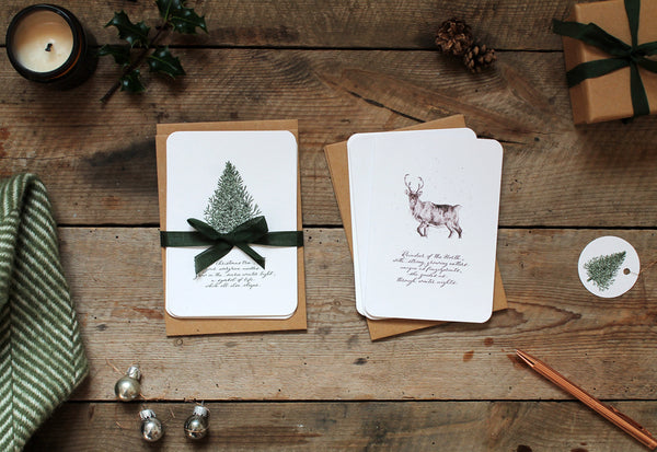 Christmas tree and reindeer greetings card pack
