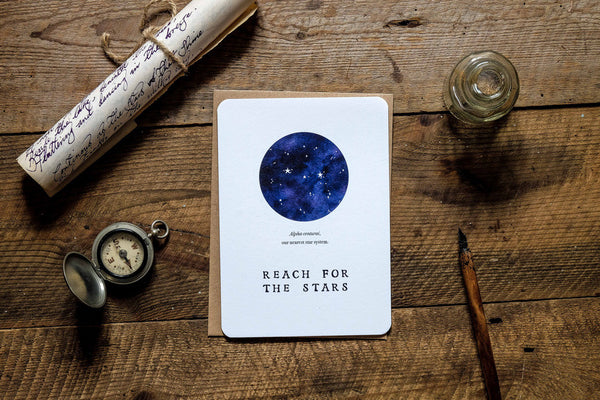 Reach for the stars greetings card