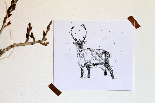 Reindeer ink sketch original artwork