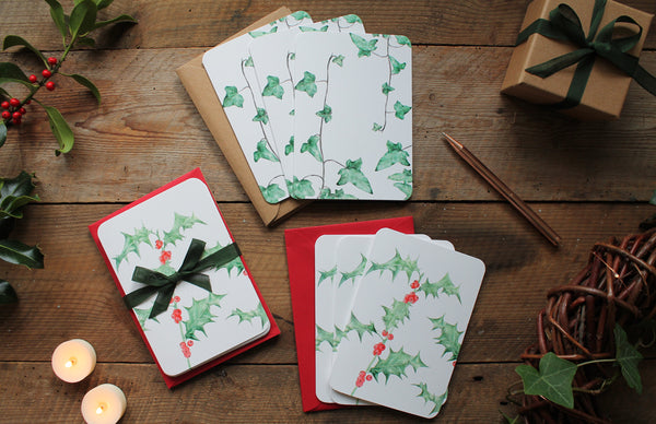Holly and Ivy twig Christmas card pack of 6