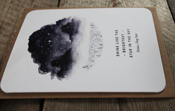 'Shine like the brightest star in the sky' greetings card