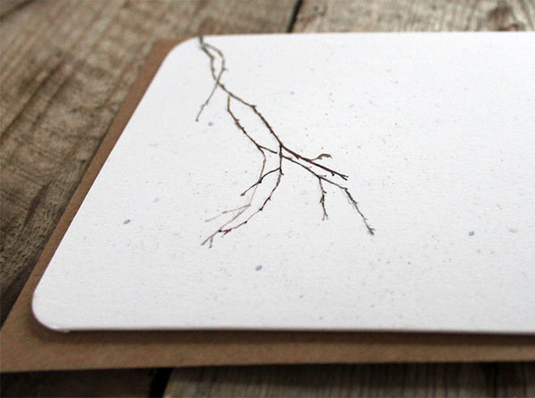'Rest a while ' snowy branch card