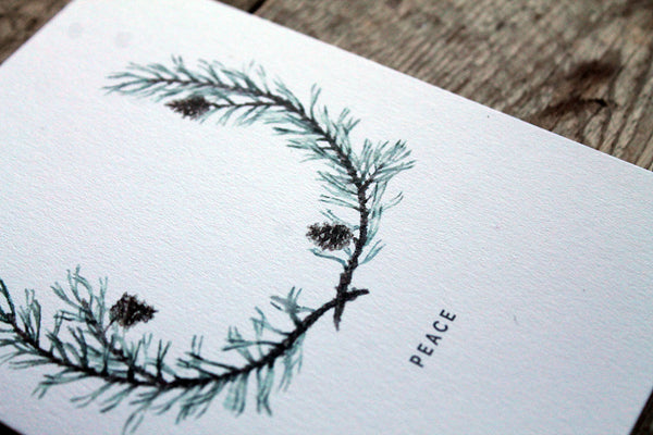 Scots pine wreath Christmas card