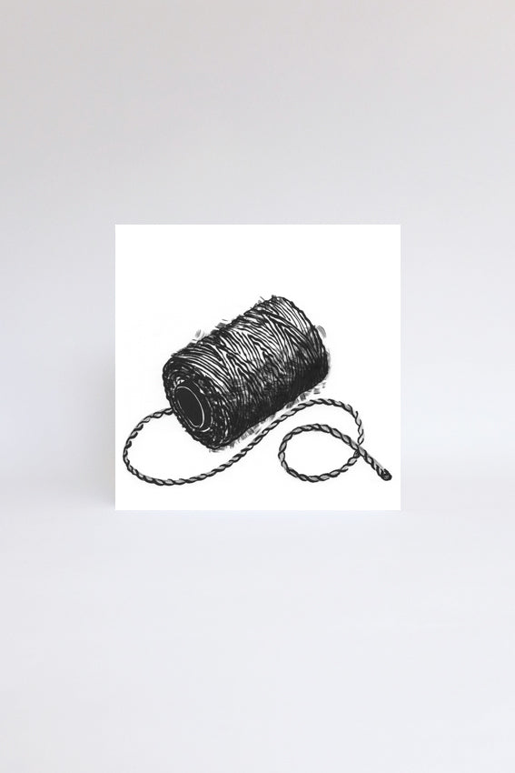 Ball of string, greetings card, black drawing