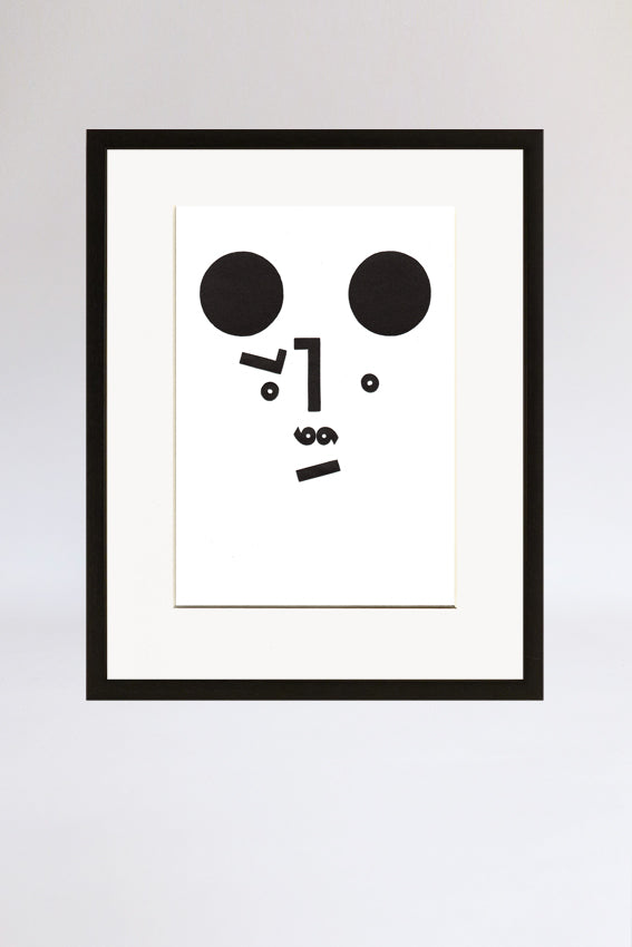 Bear face, framed print, Mmm mouth, black, letterpress