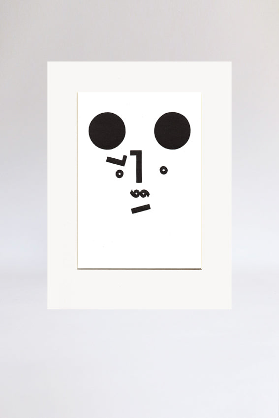 Bear face, print, Mmm mouth, letters, black, letterpress