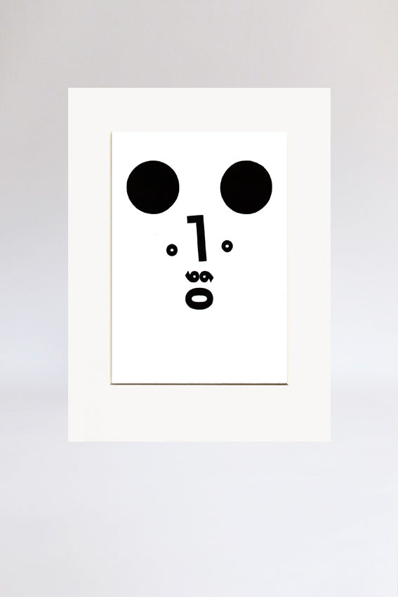 Bear face, print, Ooh mouth, black, letterpress