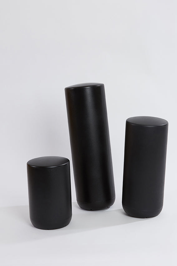 Plastic stool, perch, tubular, group, and Black colour