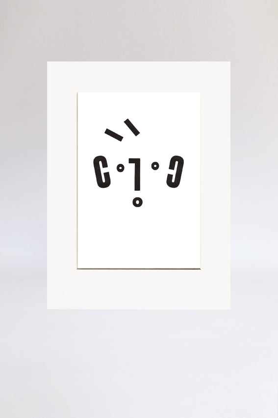 Boy face, print, Ooh mouth, letters, black, letterpress