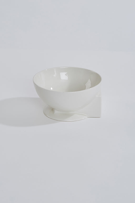 White ceramic bowl, sphere and cube shape, white
