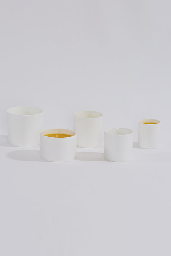 Ceramic china cups, five, no handles, white, juice