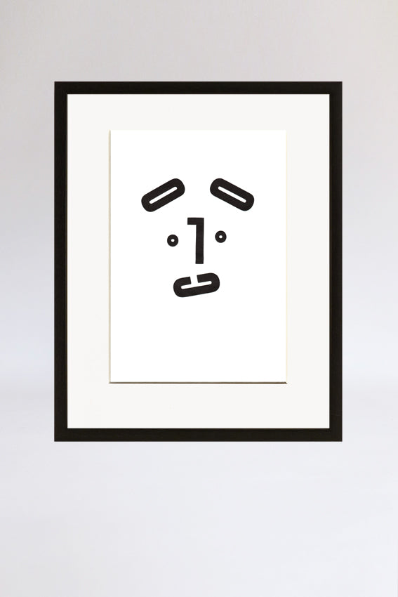Dog face, framed print, Mmm mouth, letters, black, letterpress