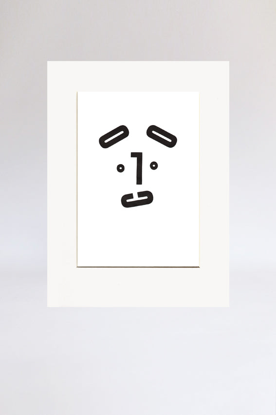 Dog face, print, Mmm mouth, letters, black, letterpress