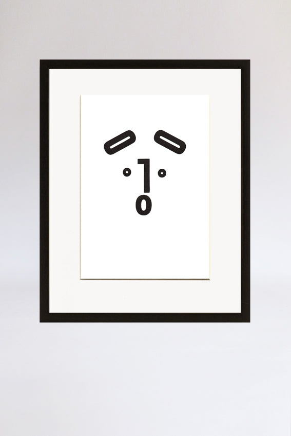 Dog face, framed print, Ooh mouth, letters, black, letterpress