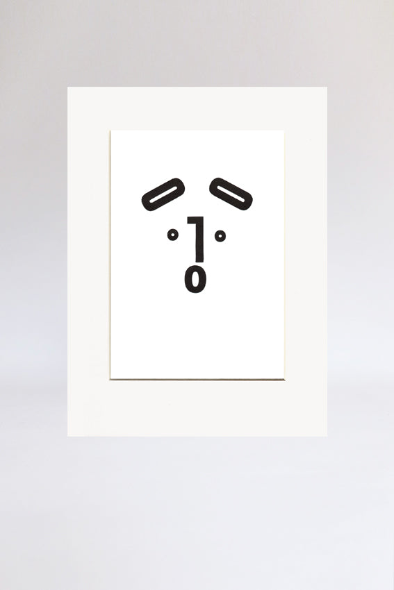 Dog face, print, Ooh mouth, letters, black, letterpress