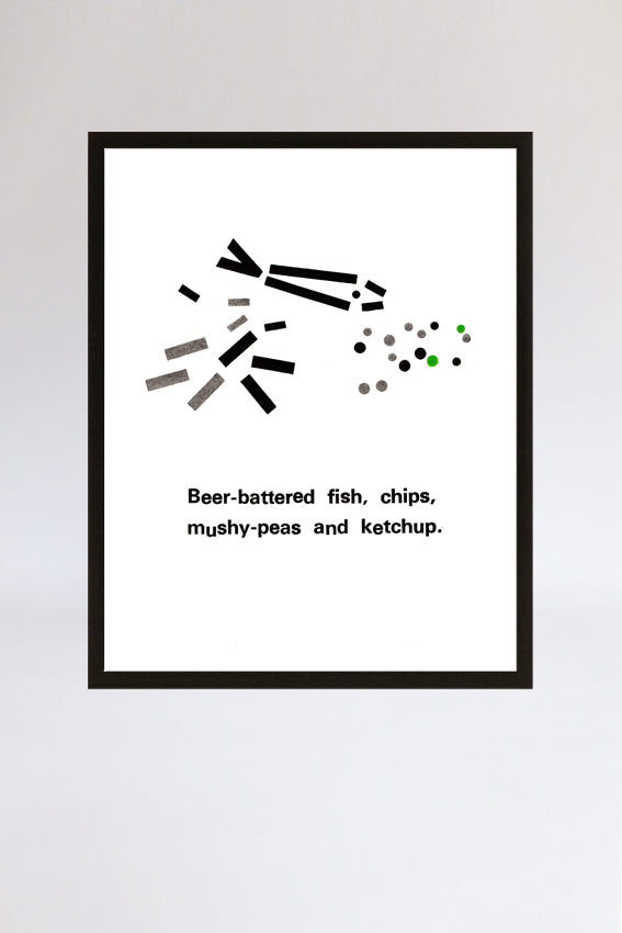 Fish and chips, framed print, letterpress, letters, black