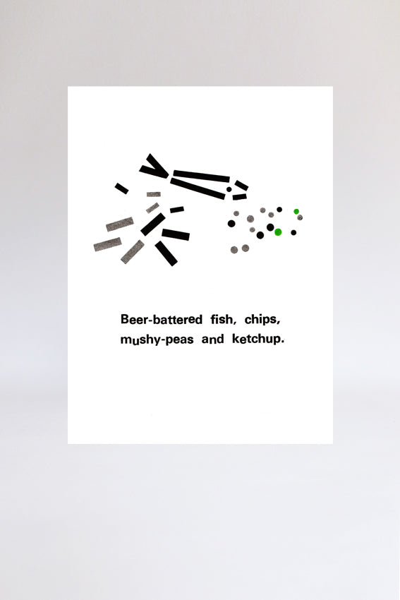 Fish and chips, print, letterpress, letters, black