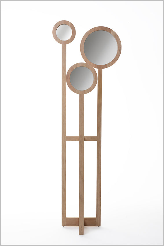 Decorative round mirrors, three, oak stand, floor standing