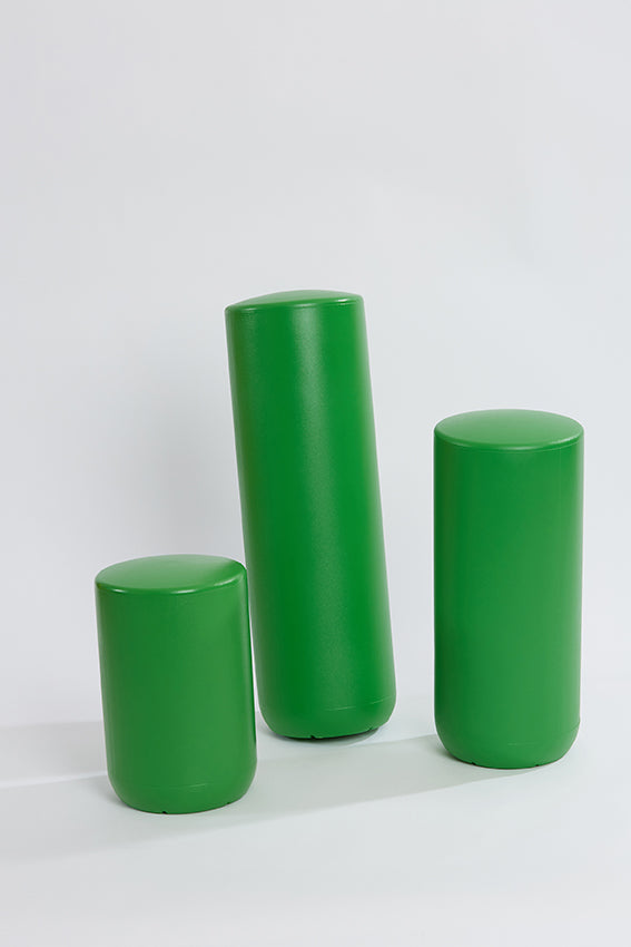 Plastic stool, perch, tubular, group, and green colour