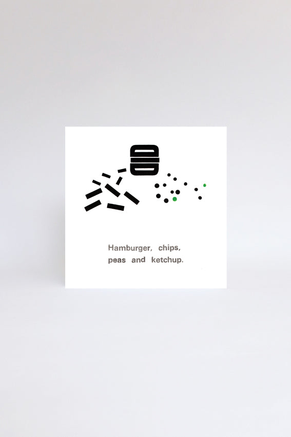 Hamburger and chips, greetings card, black letterpress print