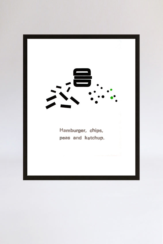Hamburger and chips, framed print, letterpress, letters, black
