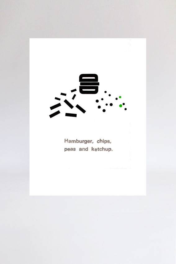 Hamburger and chips, print, letterpress, letters, black